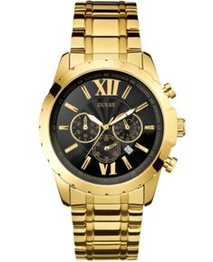 Guess Men's Chronograph Gold-Tone Stainless Steel Bracelet Watch 45mm U0193G1