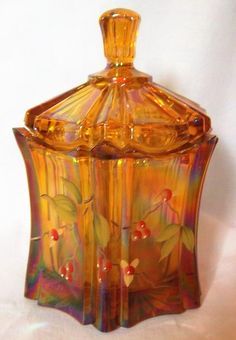 FENTON HAND PAINTED JAR WITH LID AMBER WITH FLOWERS ORIGINAL STICKER 100 YEARS