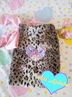 Leopard fur pink hand bag pouch sparkle fairy kei by missalphabet, $35.00