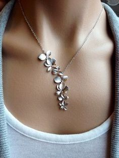 Silver Orchid Cascade Necklace gift wedding mother by PiperBlue...pinned by ♥ wootandhammy.com, thoughtful jewelry.