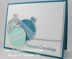 Ornament Keepsakes Stampin Up 2 Stamp Sets: Ornament Keepsakes and Four the Holidays. Island Indigo card stock - 5 x 8 Whisper White card stock - x 5 and 3 x Ink: Island Indigo, Pool Party, and Smoky Slate. Christmas Card Crafts, Homemade Christmas Cards, Stampin Up Christmas, Christmas Cards To Make, Xmas Cards, Homemade Cards, Holiday Cards, Christmas Ornament, Angel Ornaments