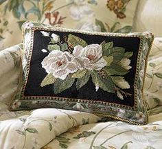 Gracious Magnolia Needlepoint Pillow Perfect for my green chair.
