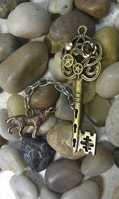 Clockwork Wolf Fantasy Key by DarkWolfJewelry on Etsy, $15.00