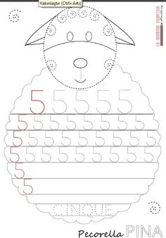 sheep number 5 trace worksheet