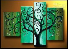 Free shipping, $65.33/Stück:buy wholesale Green tree - 4 Gremium große Wand-Dekor-Kunst-Ölgemälde 100% handgemalte auf Leinwand from DHgate.com,get worldwide delivery and buyer protection service.
