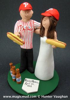 Beer and Hot Dogs at the Ball Gam,e Wedding Cake Topper... who doesn't want a hot dog and a beer while cheering on their favourite team...?    Cute but pricey
