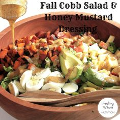 A healthy chopped salad with cinnamon-spiced sweet potatoes, honeycrisp apples and crunchy bacon