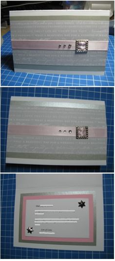 Pink & silver handmade wedding card - Han-crafted (c)