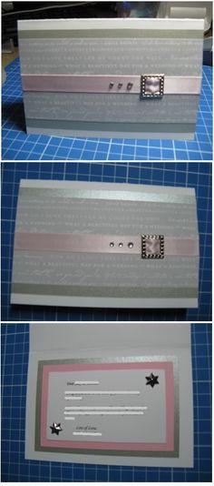 Pink & silver handmade wedding card - Han-crafted (c)