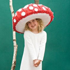Dotted Toadstool Halloween Costume - I think I am going to modify this hat idea to make a jellyfish costume.