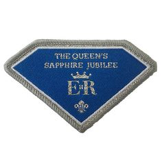 This badge commemorates our Queen reaching her year on the throne. This is an optional fun badge and not an official uniform badge. Scout Clothing, Scout Store, Scout Group, Scout Badges, Camping Equipment, Life Skills, Sapphire, Patches, Queen