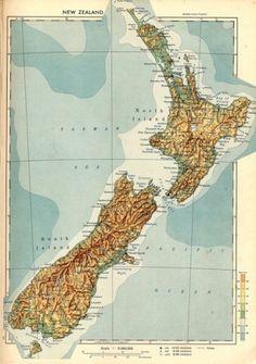 Vintage Map Print of New Zealand - 1956 Vintage Maps, Vintage Travel Posters, Map Of New Zealand, Old Maps, Map Art, Big Day, Adventure, Retro, Media Web