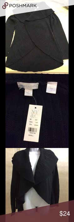 NWT New York & Company  open cardigan sz Small NWT New York & Company black open sweater/ cardigan.  Longer in the back, super comfortable.  Size small.  100% acrylic. New York & Company Sweaters Cardigans