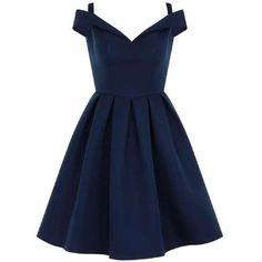 *Chi Chi London Blue Fold Over Bardot Midi Dress ($81) ❤ liked on Polyvore featuring dresses, midi dresses, chi chi dresses, blue day dress, calf length dresses and blue midi dress