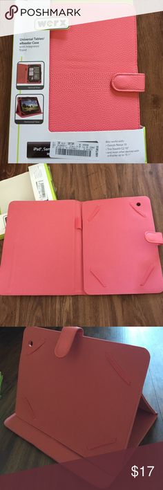 """NWT pink leather tablet case iPad kindle Galaxy BRAND NEW NEVER USED COMES WITH BOX!!! Adorable leather salmon pink tablet case. Will fit an iPad, Samsung Galaxy tab (10 inch) and a kindle fire 8.9"""" ❤️ Werx Accessories Tablet Cases"""