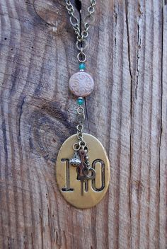 Vintage Brass Cow Tag Necklace