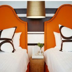 orange headboard with nail head Bedroom Photos, Home Bedroom, Bedroom Ideas, Modern Bedroom, Bedroom Colors, Bedroom Inspiration, Color Inspiration, Kids Bedroom, Awesome Bedrooms