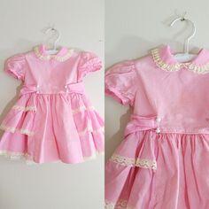 Vintage 1950s Baby Dress / Dotted Swiss Pink Ruffles / 12-18 Months Shop at www.etsy.com/Shop/ThriftyVintageKitten