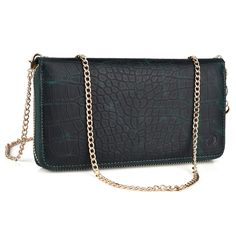 Womens Wristlet Cross body (Aventine Green) phone holder/card slots/cash slot and coin pocket fits Lenovo Vibe X3,Lenovo Vibe Z2 Pro,Huawei Nexus 6P. Designed with your daily routine in mind this cross body clutch includes card slots, full length bill slot, coin pocket, phone pocket. Created with PU leather, Precise stitching and Gold tone embellishments for a chic durable every day look. Stay organized and keep all your needed belongings with you without the bulk. Crossbody chain strap...