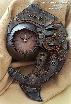 Steampunk cool clock spiral