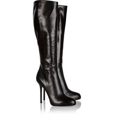 Sergio Rossi Barbie leather knee boots ($550) ❤ liked on Polyvore featuring shoes, boots, sapatos, heels, botas, black, black boots, black high heel boots, black heel boots and knee boots