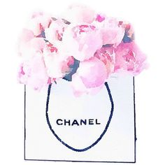 Art Print from Watercolor Painting, Chanel Shopping Bag of Pink... ($20) ❤ liked on Polyvore featuring home, home decor, wall art, paper wall art, chanel, pink wall art, pink home decor and pink poster