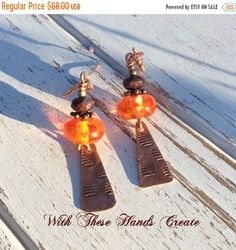 SALE Orange and Copper Lampwork Earrings   by WithTheseHandsCreate