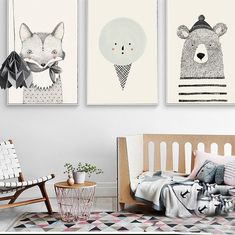 Style: Modern Brand Name: NICOLESHENTING Material: Canvas Subjects: Animal Type: Canvas Printings Medium: Waterproof Ink Technics: Spray Painting Support Base: Canvas Frame: No Form: Single Frame mode: Unframed Model Number: Canvas poster Shape: Vertical Childrens Bedroom Decor, Baby Room Decor, Woodland Animal Nursery, Woodland Animals, Canvas Poster, Canvas Wall Art, Canvas Frame, Canvas Prints, Nordic Art