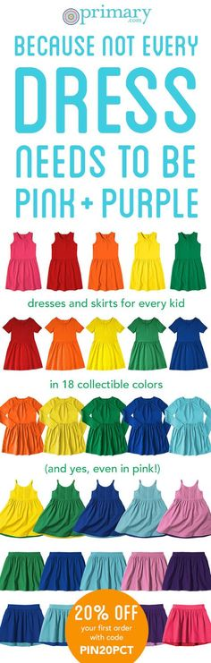 863fa66b9850 Say hello to comfortable colorful cotton dresses and skirts by Primary in a  rainbow of colors