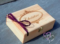 Medium Personalized Box  Engraved Wooden by RiversideBridal77
