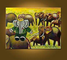 Elephant King -- 18 x 24 original oil painting. $79.00, via Etsy.