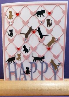 What a darling idea for my cat loving friends! Bunches of kitty silhouettes all over the front of the card. Or puppies for a dog lover!