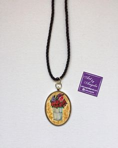 Flowers in a basket Illustration Silver Oval Pendant Using Winsor&Newton cotman paper and watercolors