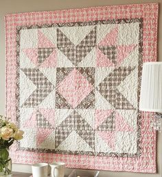 Sewing Block Quilts Big block baby quilt in pink and brown flannels that are easy to make with triangle-squares. - Big block baby quilt in pink and brown flannels that are easy to make with triangle-squares. Big Block Quilts, Star Quilts, Easy Quilts, Quilt Blocks, Pink Quilts, Baby Girl Quilts, Girls Quilts, Quilt Baby, Half Square Triangle Quilts