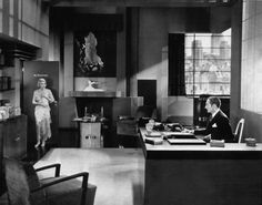 constance bennett and adolph menjou in an art deco office from the easiest way 1931 art deco office