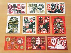 Kanteleen Kutsu card set- has wolf Vector Design, Vector Art, Marimekko, Traditional Art, Printmaking, Mythology, Folk Art, Christmas Holidays, Scandinavian