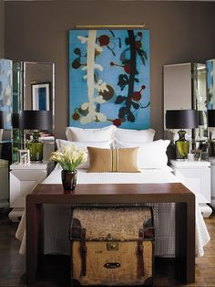 Creative headboard designs add a special touch to your room by many shapes, colors and artistic paintings. Home Bedroom, Bedroom Decor, Modern Bedroom, Master Bedroom, Warm Bedroom, Pretty Bedroom, Stylish Bedroom, Bedroom Wall, Bedroom Ideas