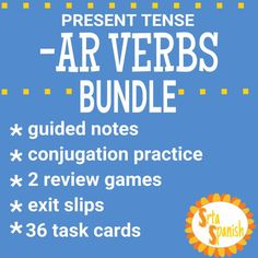BUNDLE and SAVE!This bundle includes materials to intro, practice, review, and assess the present tense forms of regular AR verbs! Bundle Includes:Present Tense -AR Verbs (regular verbs only!)- intro, practice, assessCarreras de ConjugacinAR Task Cards-AR Verbs Board GameI would LOVE any feedback you give if you download and use this product!How to get TPT credit to use on future purchases: Please go to your My Purchases page (you may need to login).