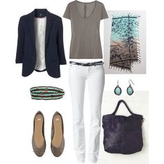 A basic taupe tee, white skinnies, and ballet flats allow comfort, while a navy blazer and turquoise accessories create a smart, put-together summer look.