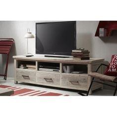 Mueble para la televisión de la colección SKYH (antes HYCKS) fabricado artesanalmente con madera de pino procedente de palets reciclados. Acabado envejecido con pintura aplicada a mano en color almendra. Las medidas son 158 x 50 x 55 cm. de altura. Tiene un peso de 33,5 kg. y admite un peso de carga de 100 kg.