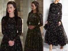 """In the episode 2x16 (""""Tasting Revenge"""") Queen Mary wears this Dolce & Gabbana Key-Printed Chiffon Gown"""