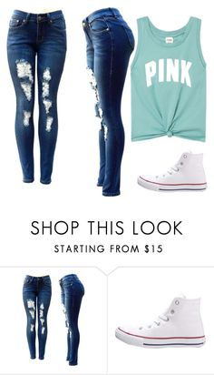 """Untitled #1"" by nessaguthrie ❤ liked on Polyvore featuring Converse and Victoria's Secret"