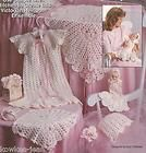 Baby Layette Crochet Patterns Christening Gown Doll Dress Afghan Corsage | eBay