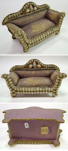 Victorian Shell Art Pincushion Camel Back Sofa | Antique Helper