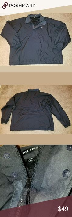 Nike Golf Storm Fit Mens 1/2 Zip Pullover This is a really great pre-owned Nike Golf Storm Fit Mens 1/2 Zip Pullover Size XL. It is in excellent pre-owned condition. There are no holes, stains, rips, tears or pulls anywhere in the fabric. It is black in color with a black embroidered swoosh. It zips up and snaps closed. It is vented in the back. It has a hidden zippered pocket in the back. All measurements are pictured. Please review all pictures carefully for condition and measurements.?…