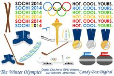 Candy Box Digital just released Olympic Clip Art w/Vectors on Creative Market. Sochi Olympics word art, skis, hockey, bobsled bobsleigh, medals, curling, snowboard. Graphics, illustrations for digital or print out for paper crafts