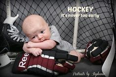 all i want for christmas is a little hockey baby :) haha (kidding! Baby Boy Photos, Newborn Pictures, Baby Pictures, Newborn Baby Photography, Children Photography, Photography Pics, Baby Boy Hockey, Women's Hockey, Hockey Stuff