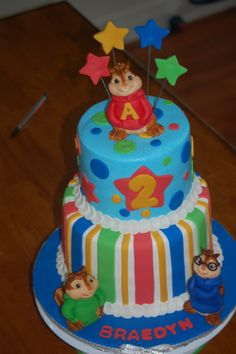 Alvin and The Chipmunks - chocolate cake, iced in buttercream, fondant accents.  The chipmunks are fondant also.