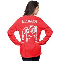 Women's Red Georgia Bulldogs The Big Shirt Oversized Long Sleeve T-Shirt, Large