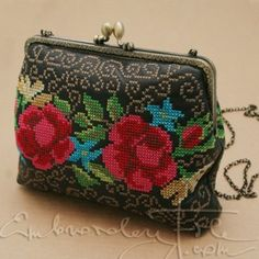 Impressive - embroidery on leather/fake leather?   With link to purchase pattern too.